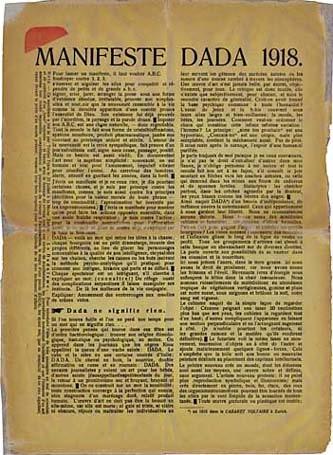 """Cuadro de texto: """"Manifiesto dadaísta"""" (1918)"""